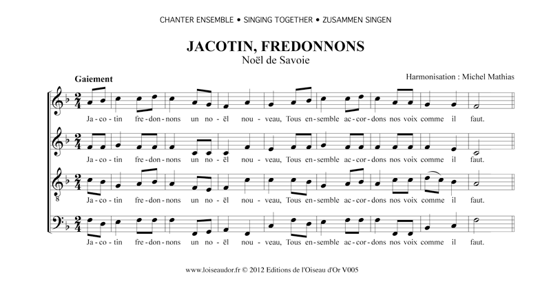 chant de noel francais NOEL TRADITIONNEL : Jacotin, fredonnons, Editions de l'Oiseau d'Or chant de noel francais